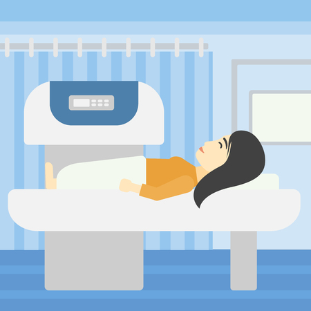 ct scan: An asian young woman undergoes a magnetic resonance imaging scan test at hospital room. Magnetic resonance imaging machine scanning patient. Vector flat design illustration. Square layout. Illustration