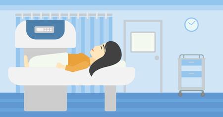 resonancia magnetica: Una mujer joven asi�tica se somete a una prueba de resonancia magn�tica en la habitaci�n del hospital. La resonancia magn�tica de exploraci�n del paciente m�quina. Vector de dise�o plano ilustraci�n. disposici�n horizontal.