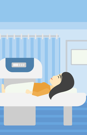 An asian young woman undergoes a magnetic resonance imaging scan test at hospital room. Magnetic resonance imaging machine scanning patient. Vector flat design illustration. Vertical layout.