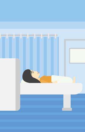 resonancia magnetica: Una mujer joven asi�tica se somete a una prueba de resonancia magn�tica en la habitaci�n del hospital. La resonancia magn�tica de exploraci�n del paciente m�quina. Vector de dise�o plano ilustraci�n. disposici�n vertical.