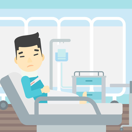brace: An asian man suffering from neck pain. Man with injured neck lying in bed in hospital ward. Man with neck brace. Vector flat design illustration. Square layout.