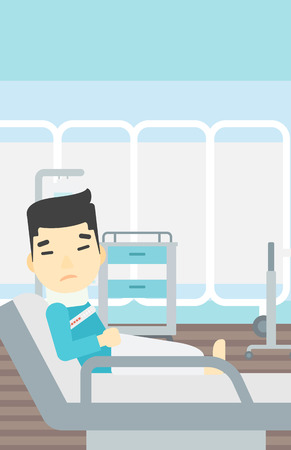 brace: An asian man suffering from neck pain. Man with injured neck lying in bed in hospital ward. Man with neck brace. Vector flat design illustration. Vertical layout.