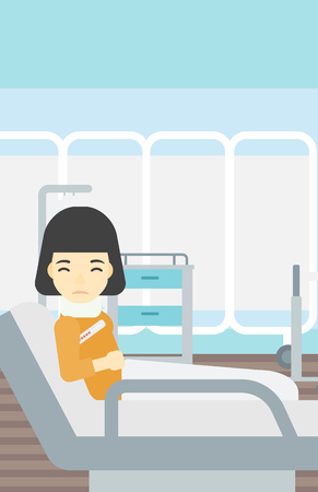 An asian woman suffering from neck pain. Young woman with injured neck lying in bed in hospital ward. Woman with neck brace. Vector flat design illustration. Vertical layout. Illustration
