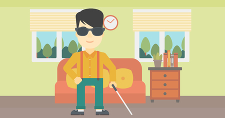 blind man: An asian blind man standing with walking stick. Young man in dark glasses with cane standing in the living room. Vector flat design illustration. Horizontal layout. Illustration