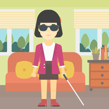 An asian blind woman standing with walking stick. Young woman in dark glasses with cane standing in the living room. Vector flat design illustration. Square layout.