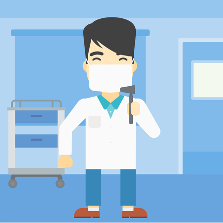 ENT: An asian male ear nose throat doctor standing in the medical office. Doctor with tools used for examination of ear, nose, throat. Vector flat design illustration. Square layout.
