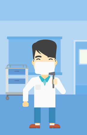 otolaryngologist: An asian male ear nose throat doctor standing in the medical office. Doctor with tools used for examination of ear, nose, throat. Vector flat design illustration. Vertical layout. Illustration