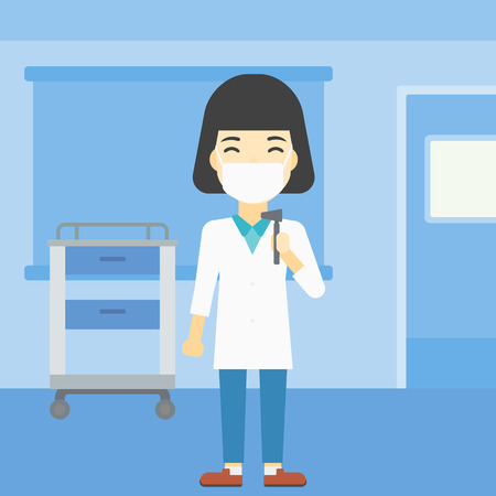 otolaryngologist: An asian female ear nose throat doctor standing in the medical office. Doctor with tools used for examination of ear, nose, throat. Vector flat design illustration. Square layout. Illustration
