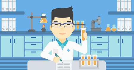 taking notes: An asian laboratory assistant taking some notes. Laboratory assistant working with a test tube at the lab. Vector flat design illustration. Horizontal layout. Illustration