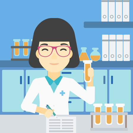 assistant: An asian female laboratory assistant taking some notes. Laboratory assistant working with a test tube at the lab. Vector flat design illustration. Square layout.