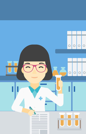 An asian female laboratory assistant taking some notes. Laboratory assistant working with a test tube at the lab. Vector flat design illustration. Vertical layout.