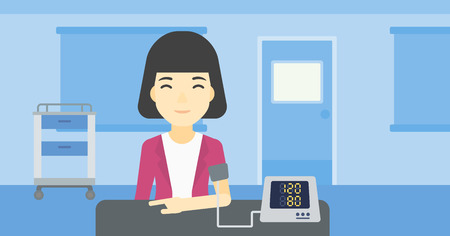 hand cuff: Asian woman checking blood pressure with digital blood pressure meter. Woman taking care of her health and measuring blood pressure in hospital room. Vector flat design illustration. Horizontal layout