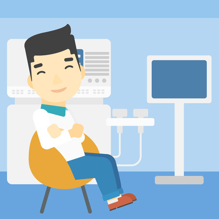 medical scanner: An asian male ultrasound doctor sitting with arms crossed. Male doctor sitting near modern ultrasound equipment at medical office. Vector flat design illustration. Square layout.