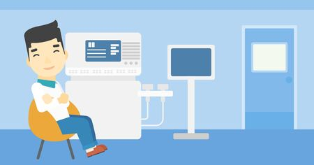 sonography: An asian male ultrasound doctor sitting with arms crossed. Male doctor sitting near modern ultrasound equipment at medical office. Vector flat design illustration. Horizontal layout. Illustration