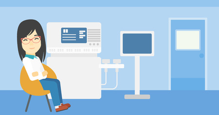 ultrasound: An asian female ultrasound doctor sitting with arms crossed. Female doctor sitting near modern ultrasound equipment at medical office. Vector flat design illustration. Horizontal layout.