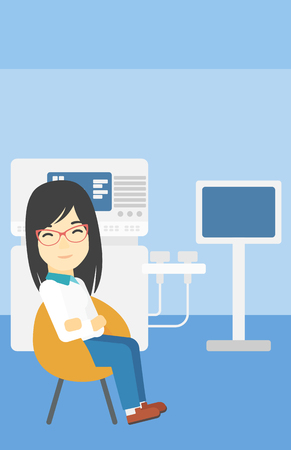 ultrasound: An asian female ultrasound doctor sitting with arms crossed. Female doctor sitting near modern ultrasound equipment at medical office. Vector flat design illustration. Vertical layout.