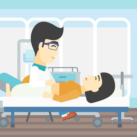 doctor and patient vector: An asian doctor touching abdomen of female patient. Woman on reception at doctor. Vector flat design illustration. Square layout.