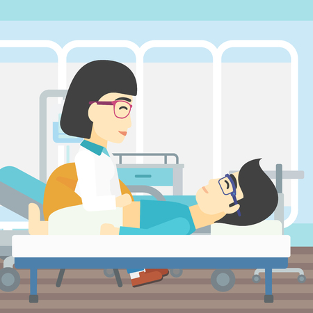 アジアの女性医師の患者の腹部に触れます。医者でフロントの男。ベクトル フラットなデザイン イラスト。正方形のレイアウト。  イラスト・ベクター素材