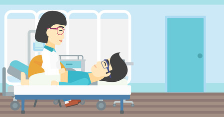 hospital ward: An asian female doctor touching abdomen of patient. Man on reception at doctor. Vector flat design illustration. Horizontal layout.