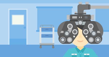and the horizontal man: Man during an eye examination. Man visiting optometrist at the medical office. Man undergoing medical examination at the oculist. Vector flat design illustration. Horizontal layout.