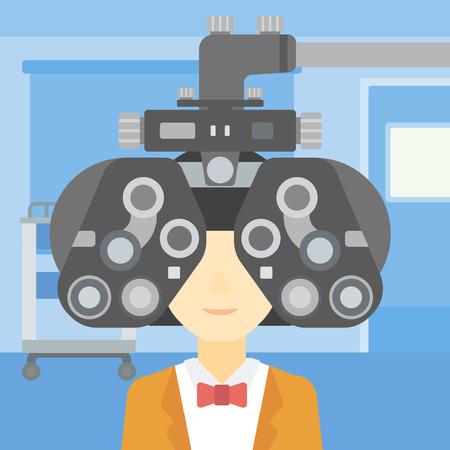 oculist: Mujer durante un examen ocular. Mujer visitando optometrista en el consultorio médico. Mujer sometida a examen médico en el oculista. Vector de diseño plano ilustración. de planta cuadrada.