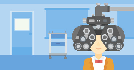 optometrist: An asian woman undergoing an eye examination while visiting optometrist at the medical office. Vector flat design illustration. Horizontal layout.