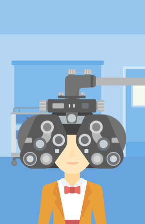 An asian woman undergoing an eye examination while visiting optometrist at the medical office. Vector flat design illustration. Vertical layout. Ilustracja