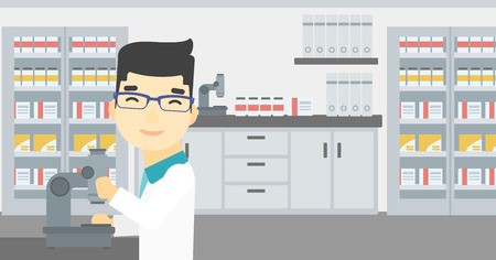 An asian male laboratory assistant working with microscope at the laboratory. Young scientist using a microscope in a laboratory. Vector flat design illustration. Horizontal layout. Иллюстрация