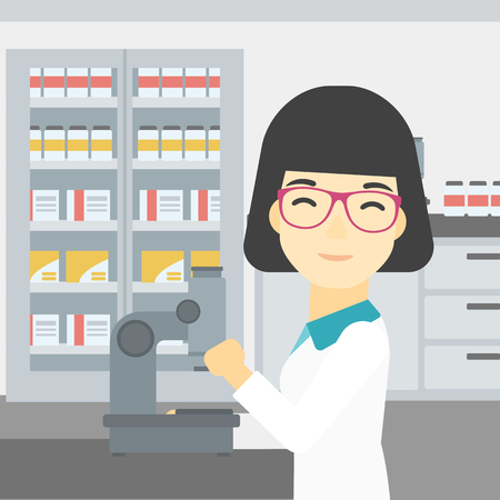female scientist: An asian female laboratory assistant working with microscope at the laboratory. Young scientist using a microscope in a laboratory. Vector flat design illustration. Square layout.