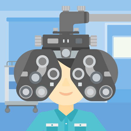 oculist: Man during an eye examination. Man visiting optometrist at the medical office. Man undergoing medical examination at the oculist. Vector flat design illustration. Square layout.