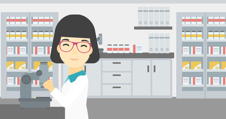 female scientist: An asian female laboratory assistant working with microscope at the laboratory. Young scientist using a microscope in a laboratory. Vector flat design illustration. Horizontal layout.