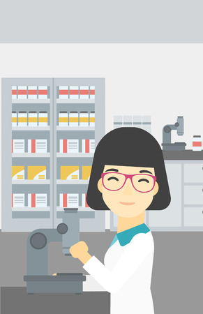 female scientist: An asian female laboratory assistant working with microscope at the laboratory. Young scientist using a microscope in a laboratory. Vector flat design illustration. Vertical layout.