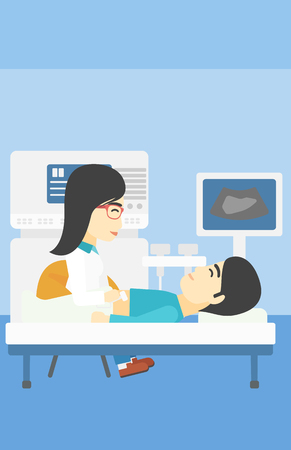 doctor and patient vector: An asian female doctor examining internal organs of a male patient on ultrasound. Doctor working on modern ultrasound equipment at medical office. Vector flat design illustration. Vertical layout.