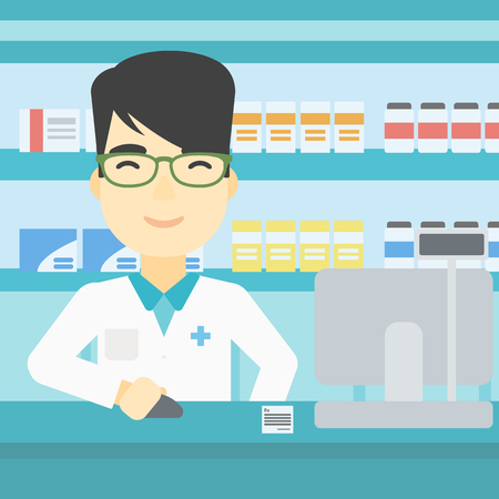 An asian young pharmacist in medical gown standing at pharmacy counter and working on a computer. Male pharmacist in the drugstore. Vector flat design illustration. Square layout. Illustration