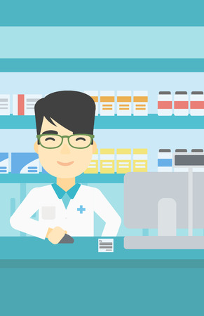 An asian young pharmacist in medical gown standing at pharmacy counter and working on a computer. Male pharmacist in the drugstore. Vector flat design illustration. Vertical layout. Illustration