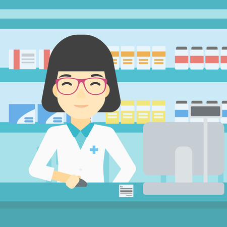 An asian young female pharmacist in medical gown standing at pharmacy counter and working on a computer. Female pharmacist in the drugstore. Vector flat design illustration. Square layout.