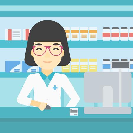 Eine asiatische junge weibliche Apotheker in medizinischen Kleid an der Apotheke Zähler stehen und arbeitet an einem Computer. Weiblicher Apotheker in der Apotheke. Vector flache Design-Illustration. Platz Layout.