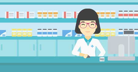 An asian young female pharmacist in medical gown standing at pharmacy counter and working on a computer. Female pharmacist in the drugstore. Vector flat design illustration. Horizontal layout. Ilustracja