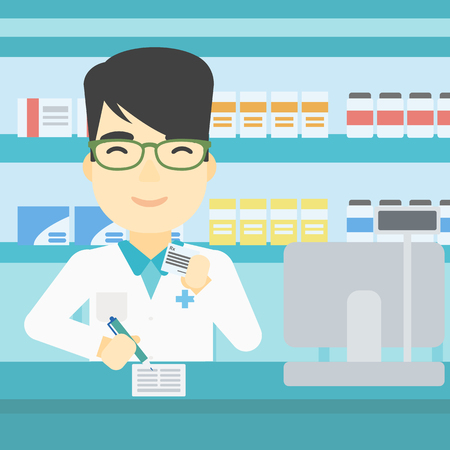 dispensary: An asian young male pharmacist writing on clipboard and holding prescription in hand. Pharmacist in medical gown standing at pharmacy counter. Vector flat design illustration. Square layout.