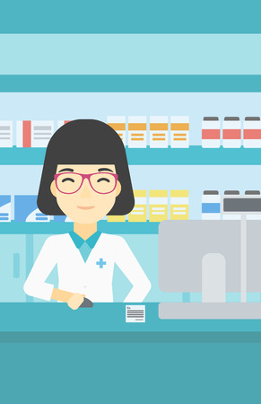 druggist: An asian young female pharmacist in medical gown standing at pharmacy counter and working on a computer. Female pharmacist in the drugstore. Vector flat design illustration. Vertical layout.