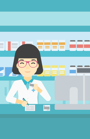 An asian young female pharmacist writing on clipboard and holding prescription in hand. Pharmacist in medical gown standing at pharmacy counter. Vector flat design illustration. Vertical layout. Фото со стока - 61302682