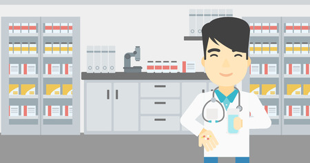 Asian young pharmacist in medical gown holding in hands a glass of water and pills. Pharmacist standing in the laboratory. Pharmacist giving pills. Vector flat design illustration. Horizontal layout. Ilustração