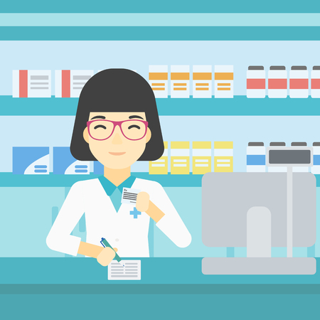 An asian young female pharmacist writing on clipboard and holding prescription in hand. Pharmacist in medical gown standing at pharmacy counter. Vector flat design illustration. Square layout.