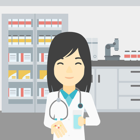 doctor giving glass: An asian young pharmacist in medical gown holding in hands a glass of water and pills. Pharmacist standing in the laboratory. Pharmacist giving pills. Vector flat design illustration. Square layout.