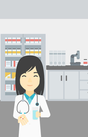 doctor giving glass: Asian young pharmacist in medical gown holding in hands a glass of water and pills. Pharmacist standing in the laboratory. Pharmacist giving pills. Vector flat design illustration. Vertical layout.