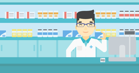 An asian young pharmacist standing at the counter and showing some medicine. Male pharmacist holding a box of pills in the pharmacy. Vector flat design illustration. Horizontal layout.