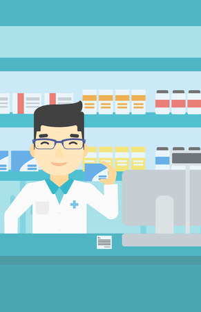 dispensary: An asian young pharmacist standing at the counter and showing some medicine. Male pharmacist holding a box of pills in the pharmacy. Vector flat design illustration. Vertical layout.