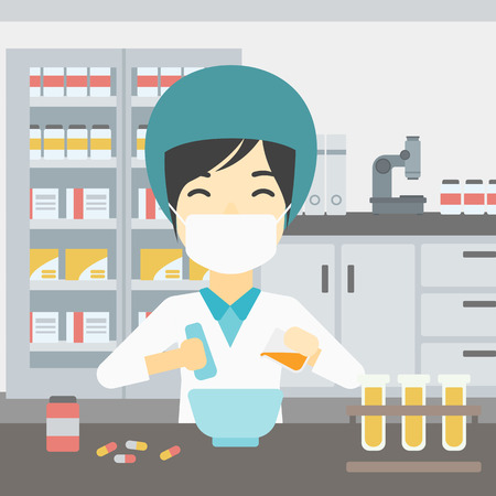 mixing: Asian female pharmacist in mask using mortar and pestle for preparing medicine in the laboratory. Pharmacist mixing medicine at the hospital pharmacy. Vector flat design illustration. Square layout. Illustration