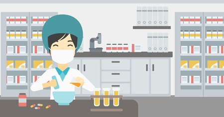 Asian female pharmacist in mask using mortar and pestle for preparing medicine in laboratory. Pharmacist mixing medicine at the hospital pharmacy. Vector flat design illustration. Horizontal layout.