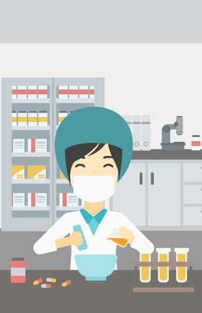 mixing: Asian female pharmacist in mask using mortar and pestle for preparing medicine in the laboratory. Pharmacist mixing medicine at the hospital pharmacy. Vector flat design illustration. Vertical layout.
